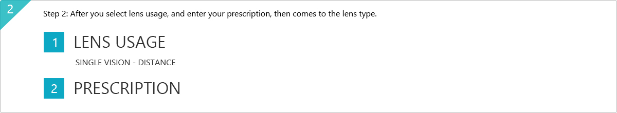 Step 2: After you select lens usage, and enter your prescription, then comes to the lens type.