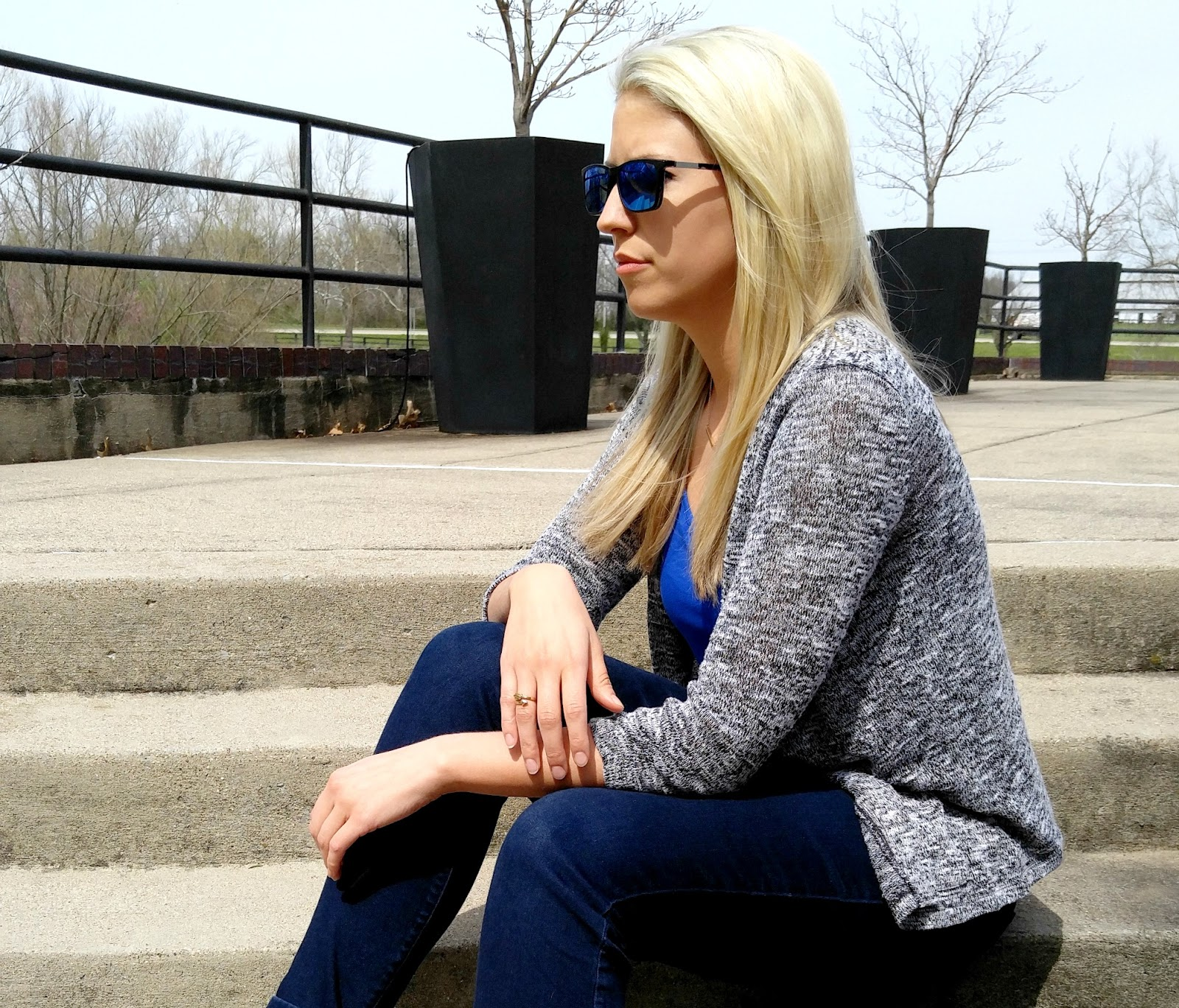 Reno Rectangle clip-on - Black Tortoise (Blue Mirror-coating)