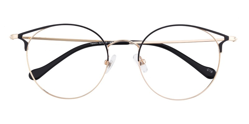 96d22b2d2090 Carrie Cat Eye - Black/Golden Eyeglasses | GlassesShop.com