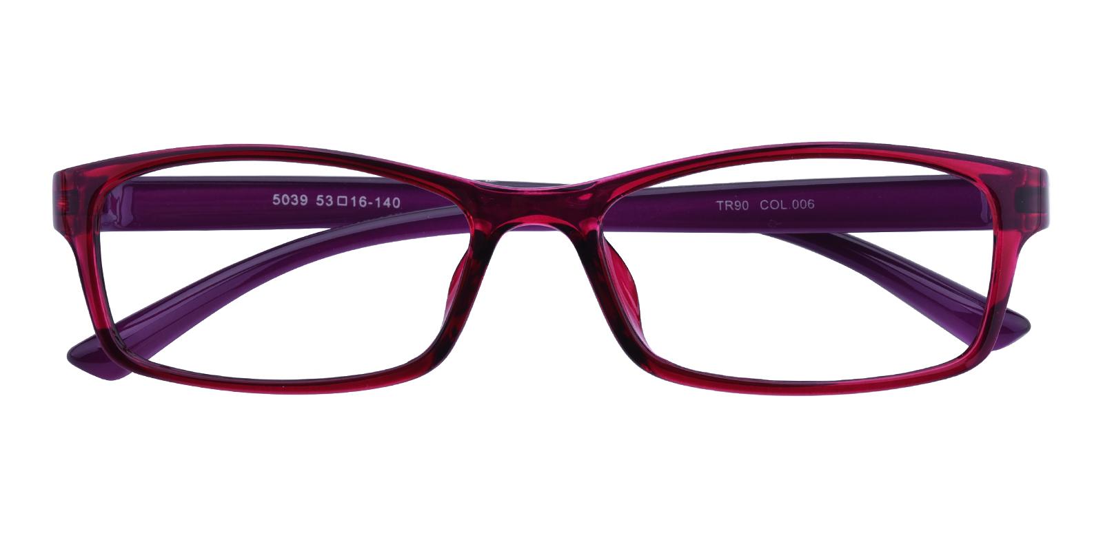 Women's Rectangle Eyeglasses, Full Frame TR90 Purple - FP1764