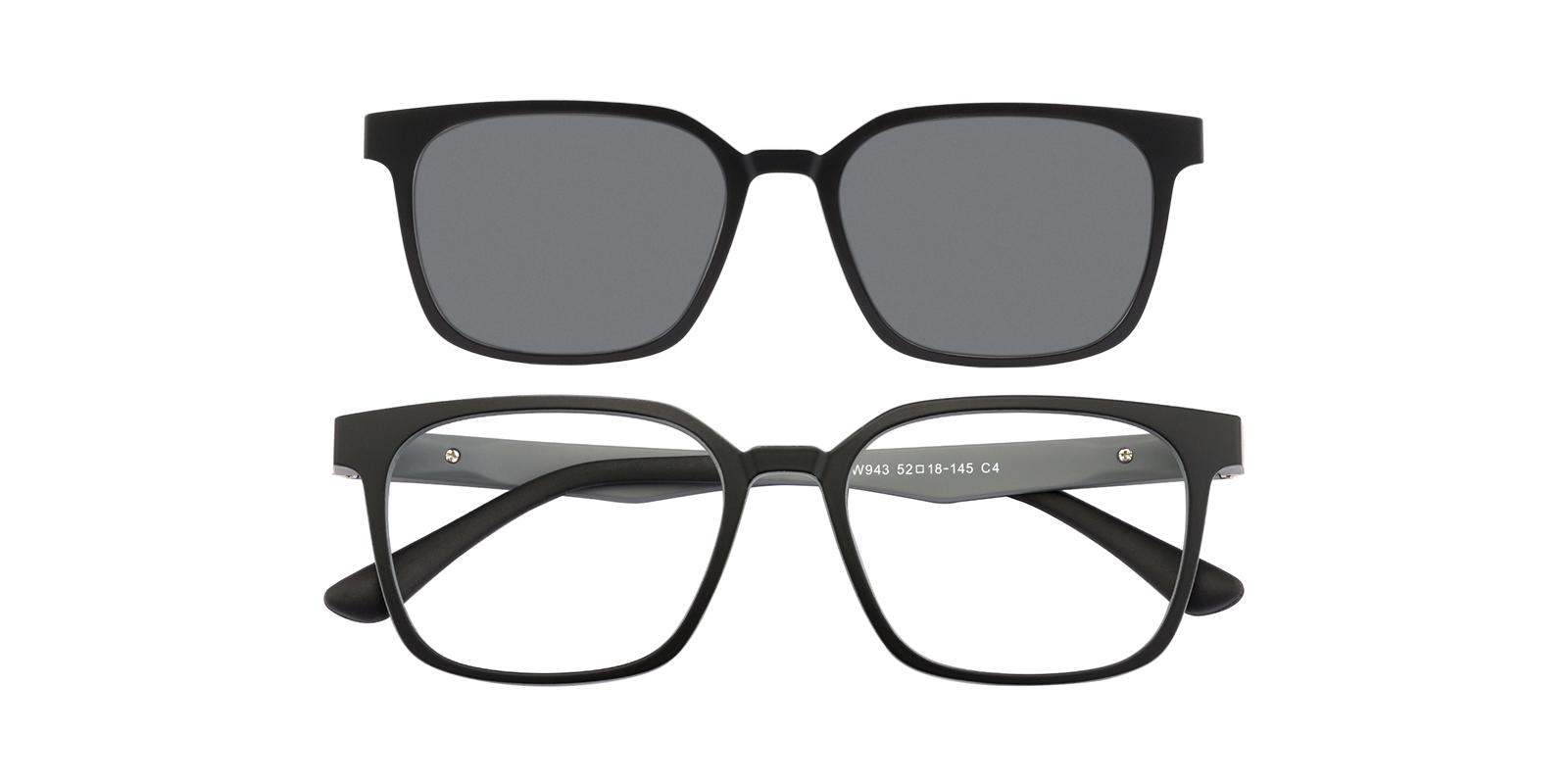 Women,Men's Square Eyeglasses, Full Frame Ultem Mblack/Gray - FP1814