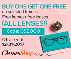 BUY ONE GET ONE FREE- Use Coupon Code GSBOGO At GlassesShop.com - Ends 12/31/2017