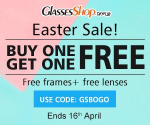 Easter sale! BUY ONE GET ONE FREE, Using Code GSBOGO At GlassesShop.com! Promo ends 4/16/2017