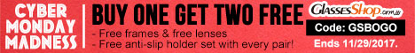 Cyber Monday Madness � Buy One Get TWO Free use Code GSBOGO At GlassesShop.com