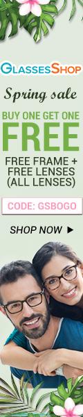 Spring Sale, BUY ONE GET ONE FREE, Free frames+ free lenses at GlassesShop.com. Use code GSBOGO Offer expires 4/10